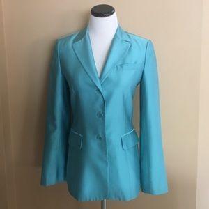 BCBGMaxAzria Tiffany Blue, 100% Silk Blazer. US 4